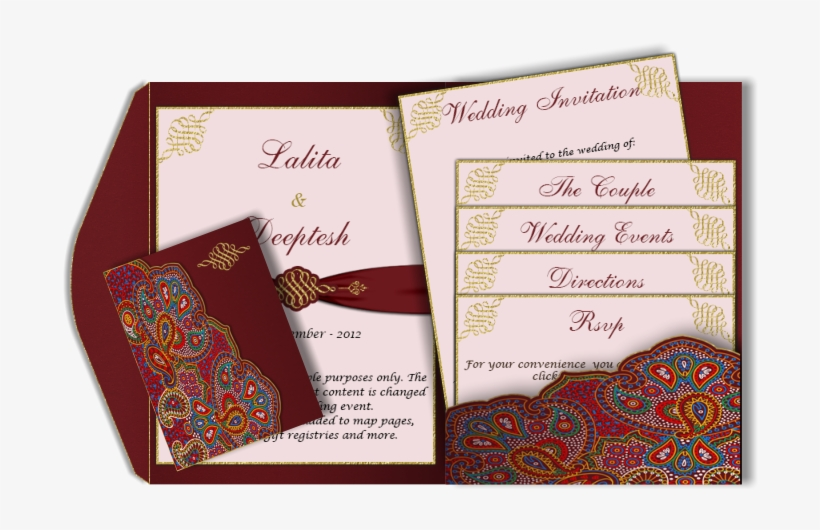A Red Paisley Style Email Wedding Card Template With - Paisley Wedding Card, transparent png #2571344