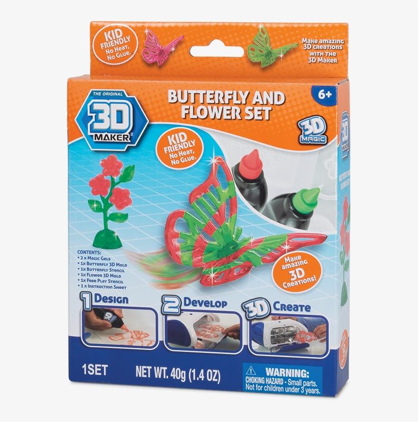 3d Maker Spinner Butterfly - 3d Maker Buterfly Flower Theme Pack, Multi Color, transparent png #2577664