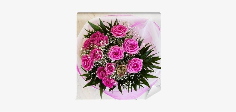 Vibrant Pink Roses Flower Bouquet, Closeup Wall Mural - Róże Bukiety Kwiatów, transparent png #2580525