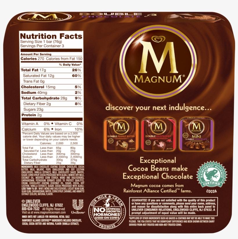 Magnum Bar Nutrition Information, transparent png #2580556