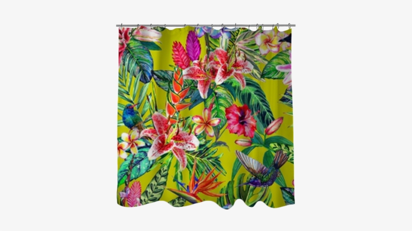 Seamless Tropical Floral Pattern - Murales Florales Pintados A Mano, transparent png #2580786