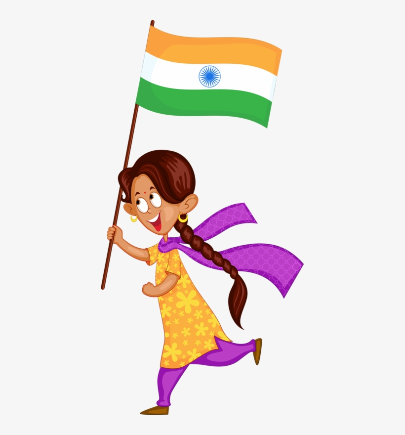 India Wedding Illustration, School Projects, Clip Art, - Girl With A Indian Flag Animation, transparent png #2583330