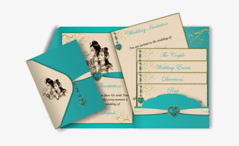 Turquoise & Ivory Email Wedding Invitation Perfect - Wedding Invitation Card Turquoise, transparent png #2584536