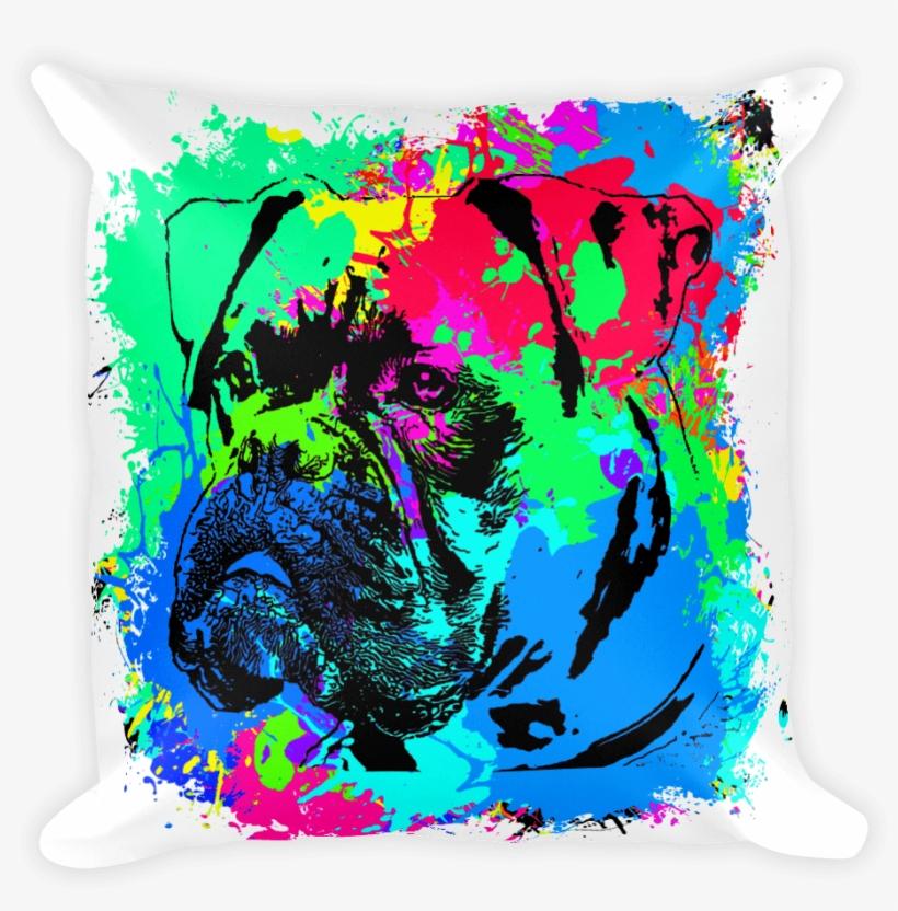Boxer Colorful Splash Paint Decorative Pillow - Painting, transparent png #2587727