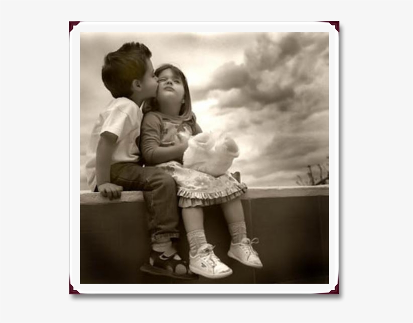 6)only The Open Heart Receives - Cute Kids Kissing, transparent png #2588442