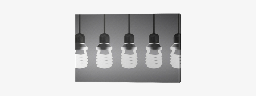 Hanging Glowing Spiral Light Bulbs On Gray Canvas Print - Incandescent Light Bulb, transparent png #2589701