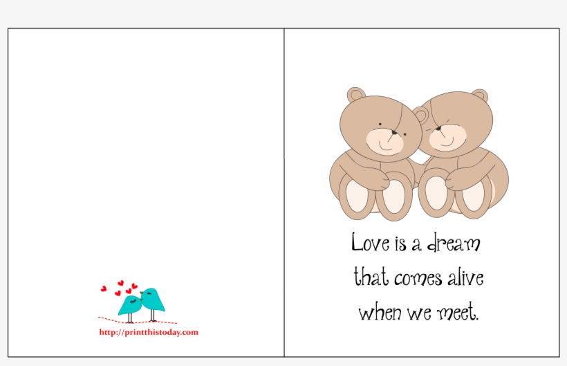 love card with romantic quote and cute picture  happy