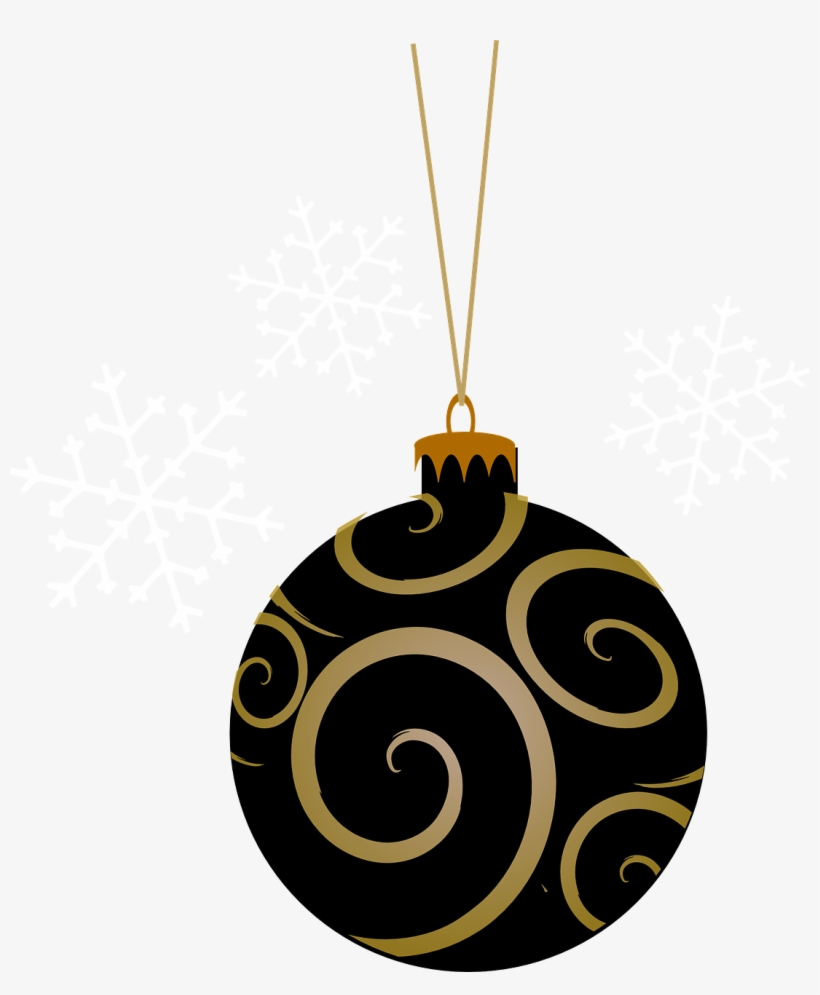 Black And Gold Christmas Baubles, transparent png #2597435