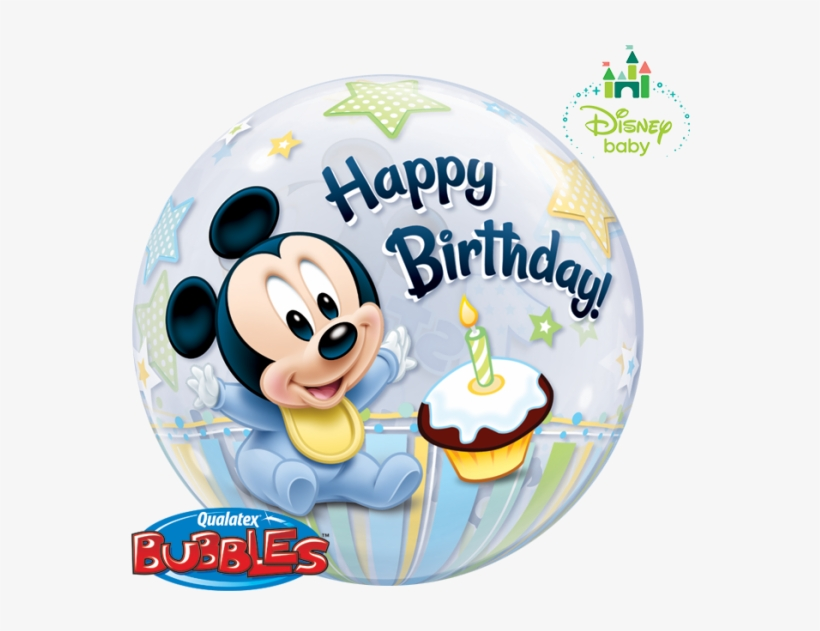 "22"" Mickey Mouse 1st Birthday Bubble Balloon - Baby Mickey Mouse 1st Birthday Balloons, transparent png #2599058"