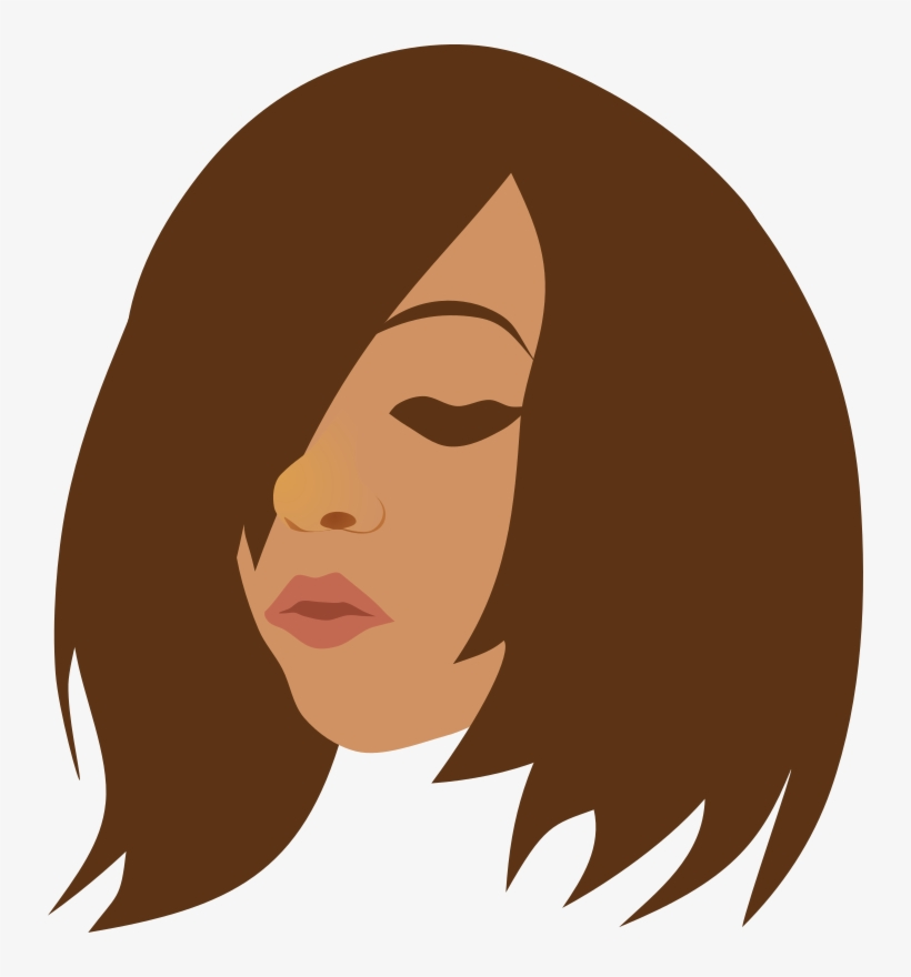 Beauty, Brunette, Face, Girl, Head, Woman - Girl With No Face Long Brown Hair, transparent png #263381