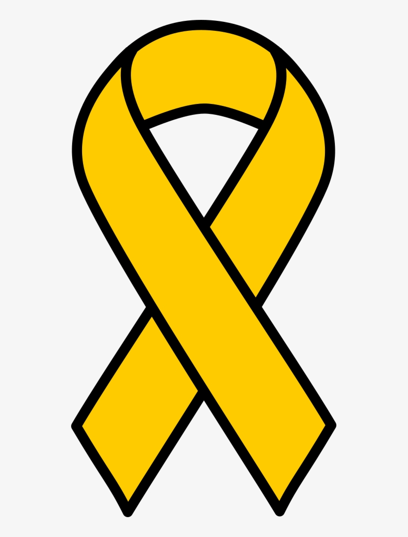 Gold Childhood Cancer Ribbon - Gold Cancer Ribbon Clipart, transparent png #263759