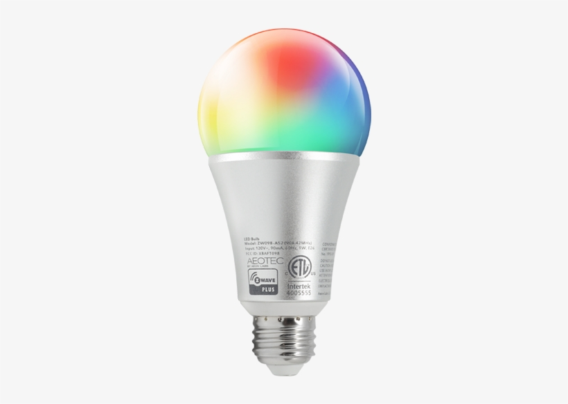 Z Wave Led Bulb Gen5 Multi Colour@2x - Aeon Labs Aeotec Z-wave Led Light Bulb Gen5, transparent png #2600651