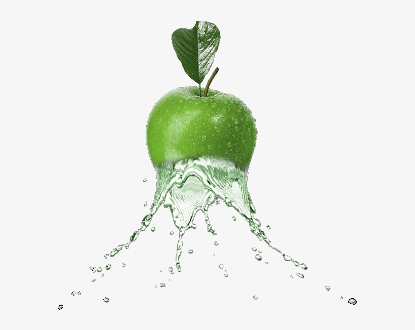 Scfruits Apple Greenapple Splash Water Fruit Food Ftest - Green Apple Water Splash, transparent png #2602407