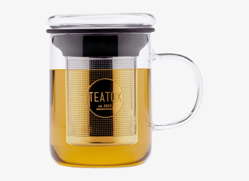 Tea Mug With Removable Tea Strainer And Glass Lid - Teatox, Glass Mug With Filter - 330ml, Stainless Steel, transparent png #2602859