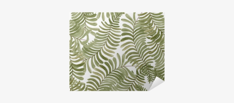 Watercolor Seamless Pattern With Fern Frond Palm Leaves - Watercolor Painting, transparent png #2611040