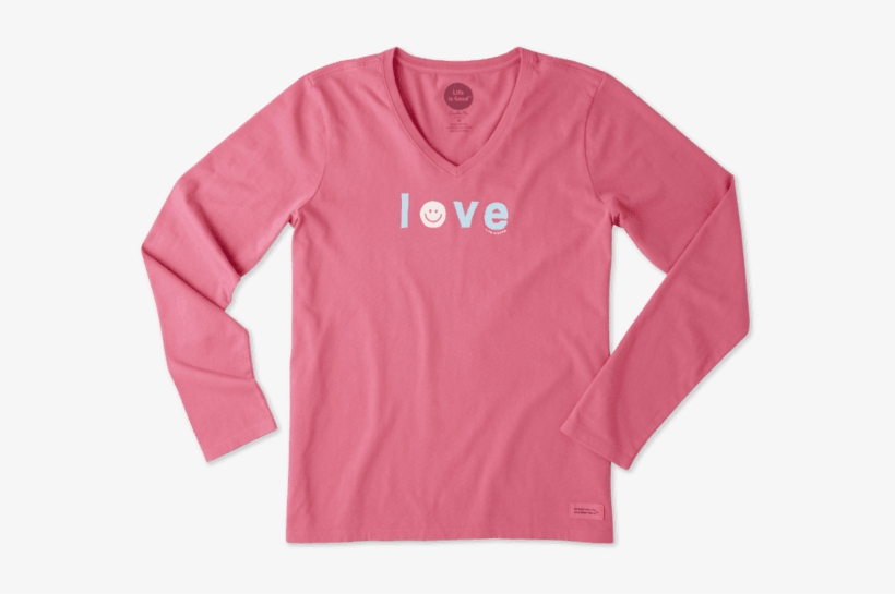 Women's Smiley Love Long Sleeve Crusher Vee - Life Is Good Womens Crusher Long, transparent png #2612830