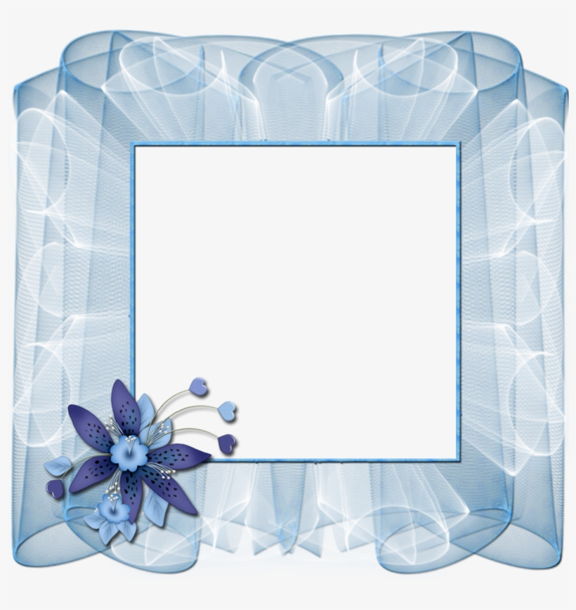 Beautiful Transparent Blue Frame With Flower Gallery - Blue Flower Transparent Frame, transparent png #2613674