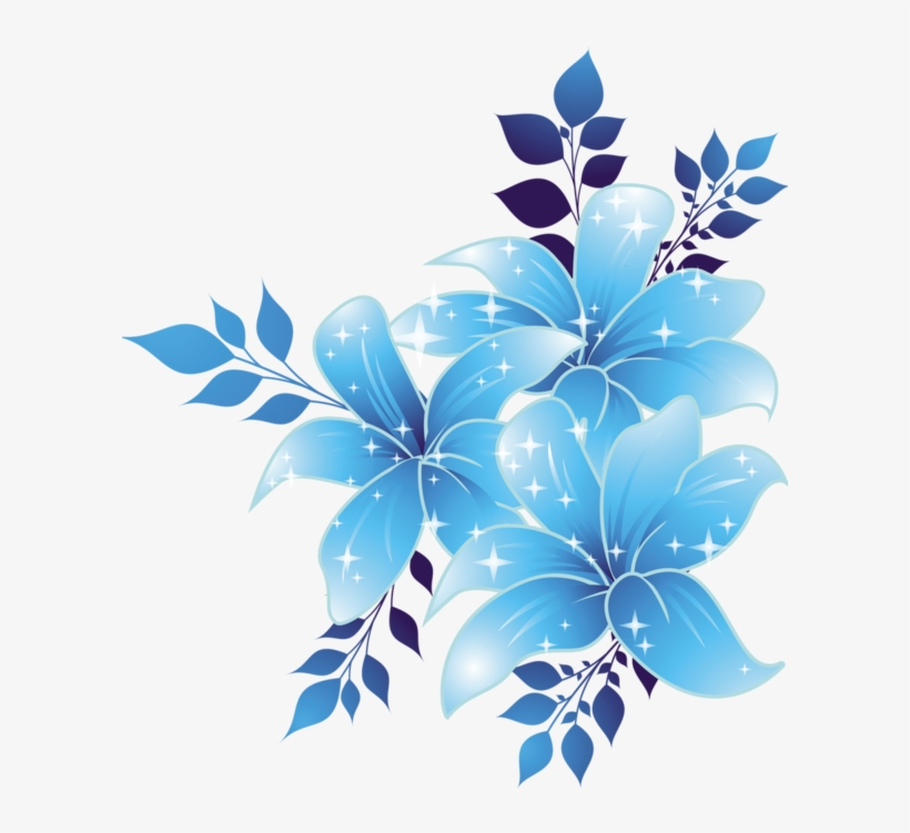 Free Download Blue Flowers Png Clipart Borders And - Blue Flower Design Border, transparent png #2613794