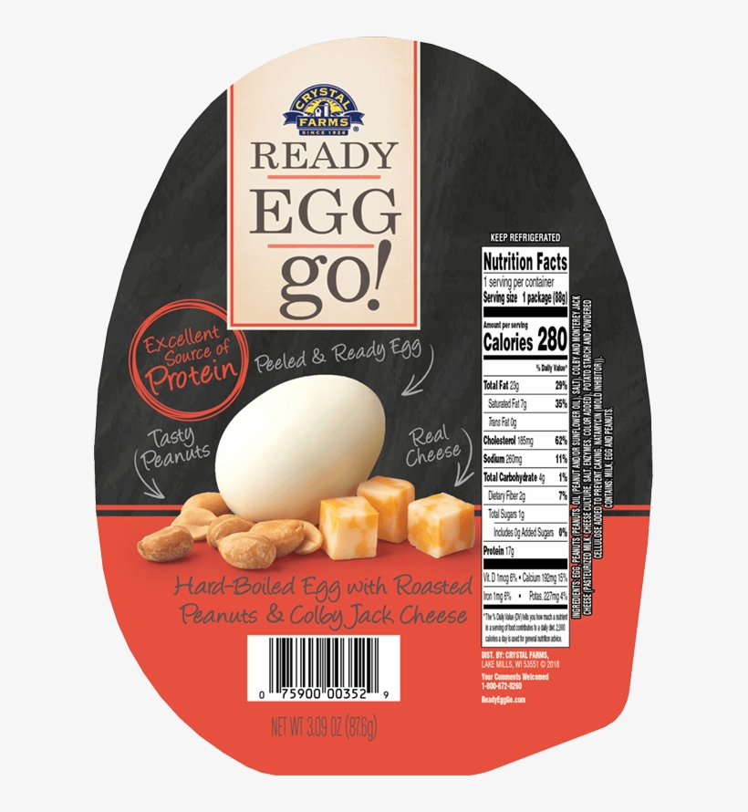 Hard-boiled Egg With Roasted Peanuts & Colby Jack Cheese - Crystal Farms Ready Egg Go, With Cashews, transparent png #2614510
