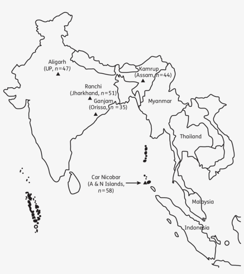Map Of India Showing The Parasite Collection Sites Black And