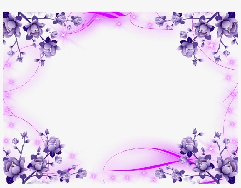 Beautiful Frame Png Format - Purple Flower Border, transparent png #2620247