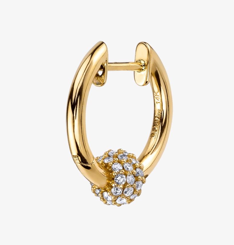 Diamond Sphere Hoop Earring - Diamonds In A Line Hoop Gold Earrings, transparent png #2622487