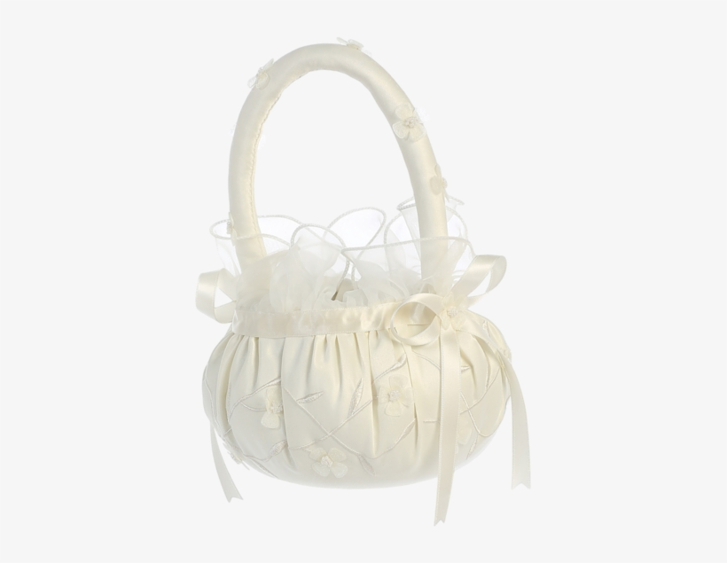 Matte Satin Flower Girl Basket With Pearl Centered - Flower Girl Basket Png, transparent png #2624263