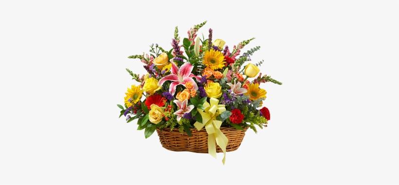 Country Roads Sympathy Basket In Houston, Tx - Flowers: Bright Flower Sympathy Arrangement In Basket, transparent png #2624650
