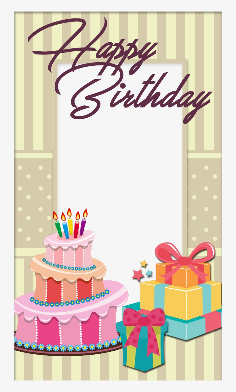 Birthday, Photo Frame Tags - Birthday Cake With Photo Frame, transparent png #2626096