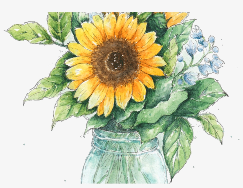 Jar Drawing Ubisafe - Sunflower Mason Jar Clipart - Free ...