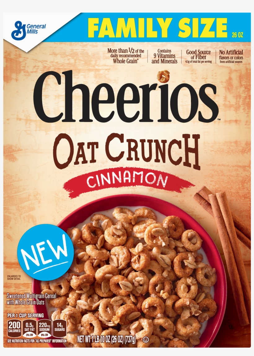 Pack Cheerios Oat Crunch Cinnamon Family Size Cereal - Cheerios Oat Crunch, transparent png #2634018