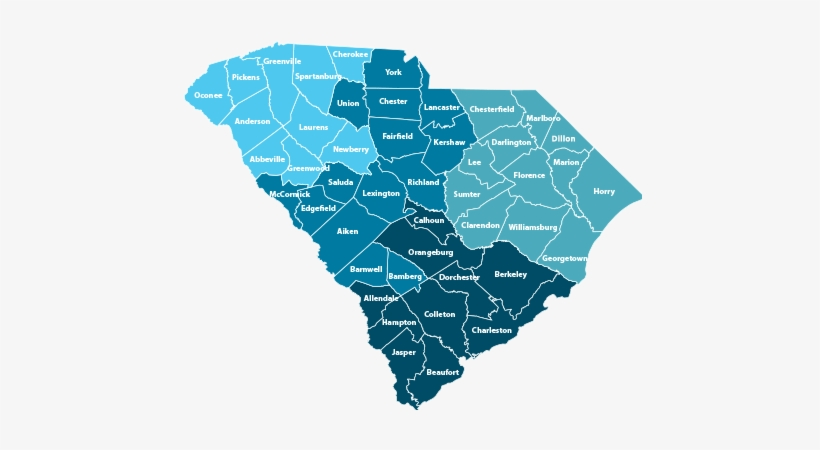 Map Of South Carolina With Counties - Formal Region In South Carolina, transparent png #2639142