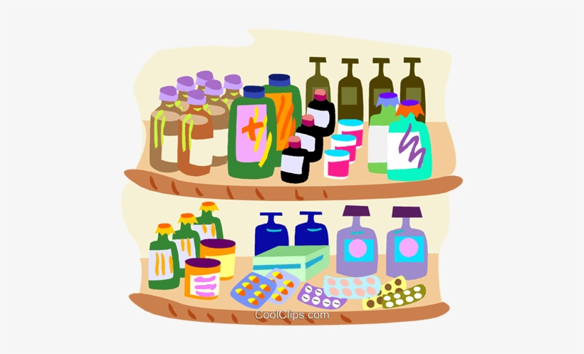 Healthcare Two Shelves Of Medicine Royalty Free Vector Png