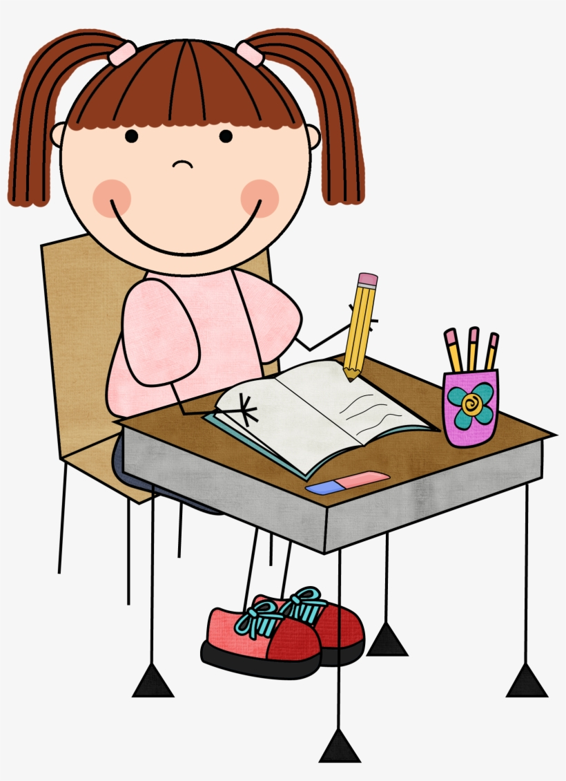 Writing Cliparts Girls 2 - Child Reading Clipart - Free Transparent PNG  Clipart Images Download