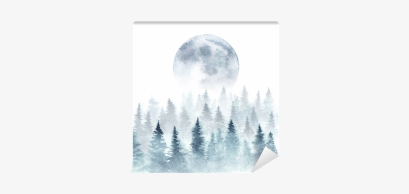 Landscape Of A Winter Forest And Rising Moon - Moon Watercolor Forest, transparent png #2664987