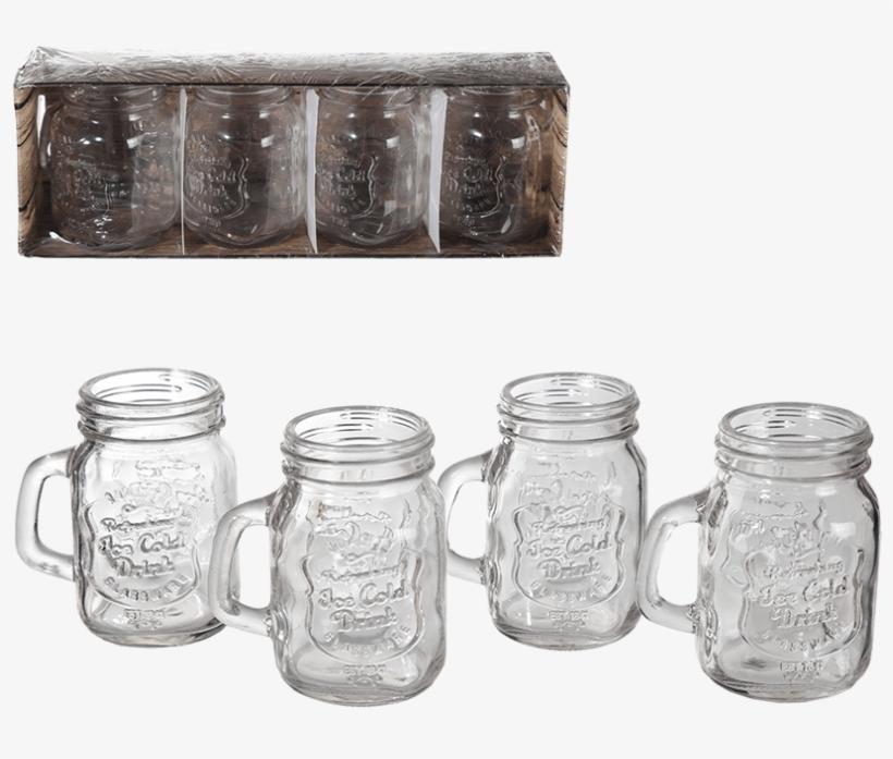 Set Of 4 Vintage Mason Jar Shot Glasses, transparent png #2665927