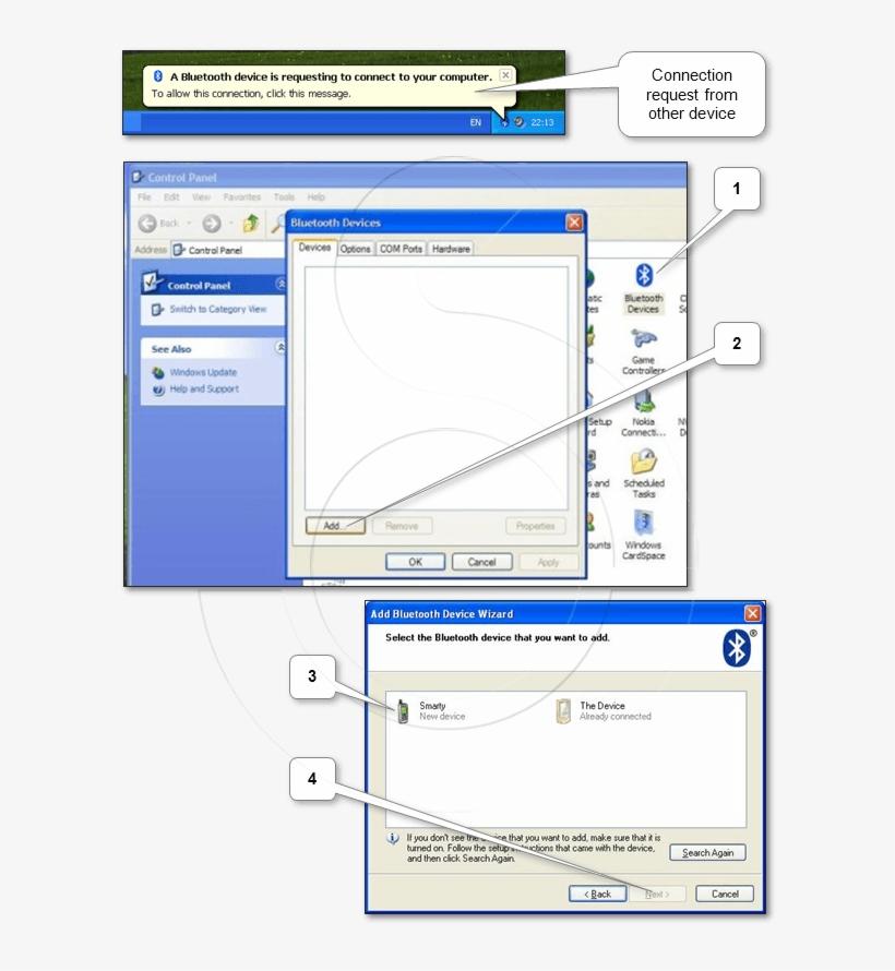 "Use Add Wizard Via ""start Menu\control Panel\bluetooth - Panel De Control, transparent png #2670901"