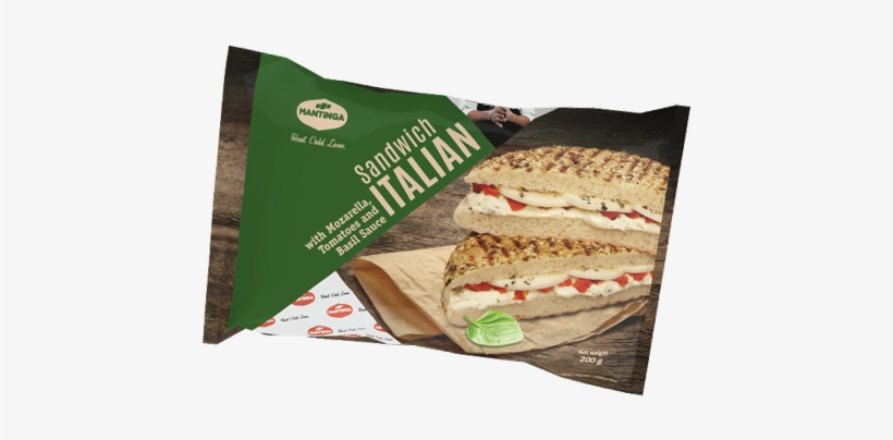 Italian Sandwich With Mozzarella, Tomatoes And Basil - Fast Food, transparent png #2691783