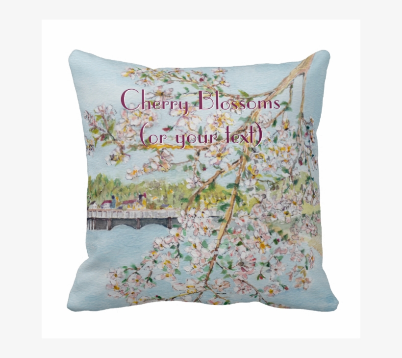 Washington Dc Cherry Blossoms Watercolor Painting Pillow - Watercolor Painting, transparent png #274234