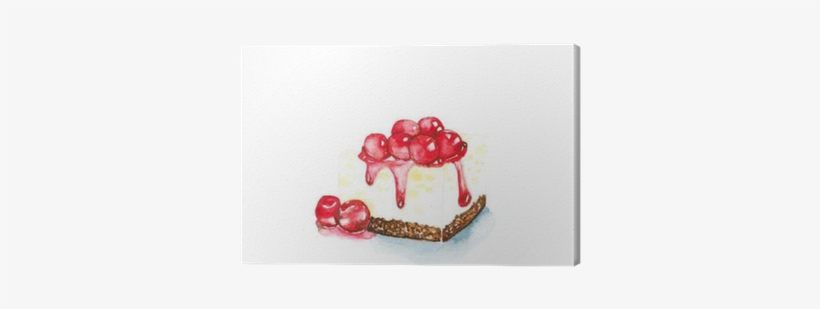 Cherry Cheesecake Watercolor Painting On White Background - Watercolor Painting, transparent png #274738