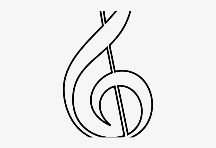 Treble Clef Outline - Music Notes Drawing, transparent png #276328