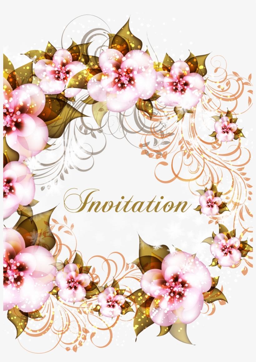 Image Royalty Free Download Flower Pink Floral Invitations - Wedding Invitation Card, transparent png #277257