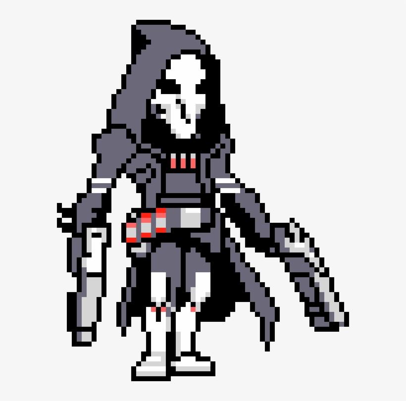 Reaper Pixel Sprray - Overwatch Pixel Art With Grid - Free