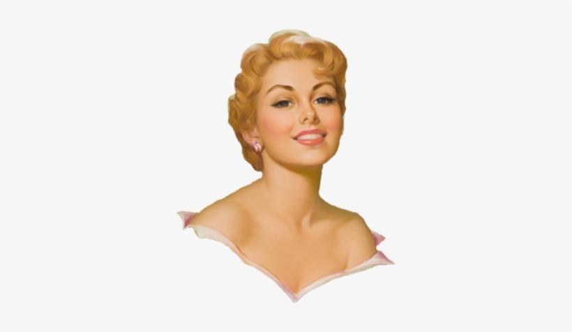 Vintage Femme Portrait - Pearl Frush Pin-up Girl Art Print 32x24, transparent png #2719909