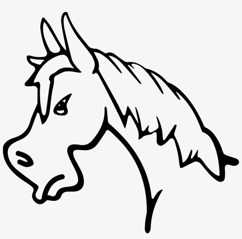 Angry Horse Face Side View Outline Comments - Horse Side View Outline, transparent png #2721011