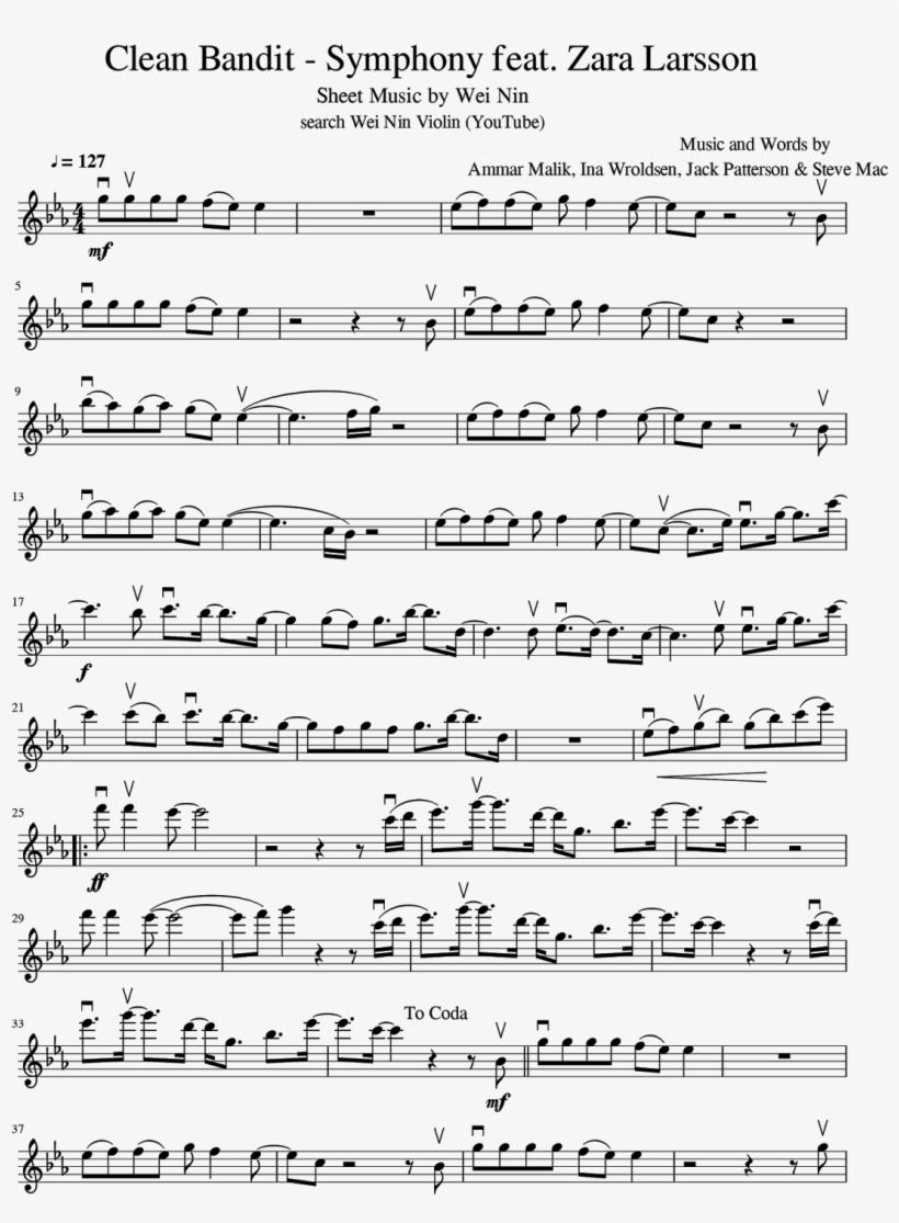 Zara Larsson - Sheet Music For Piano Symphony Clean Bandit, transparent png #2723914