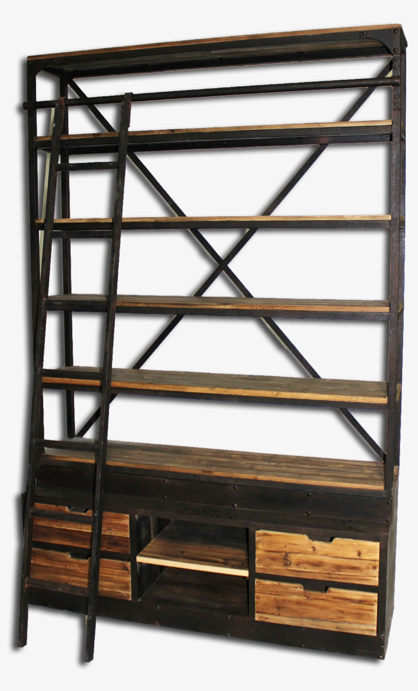 Bookcase With Ladder Natural Reclaimed Pine With Iron - Harris Furniture Th-136 Bookcase With Ladder, transparent png #2726286