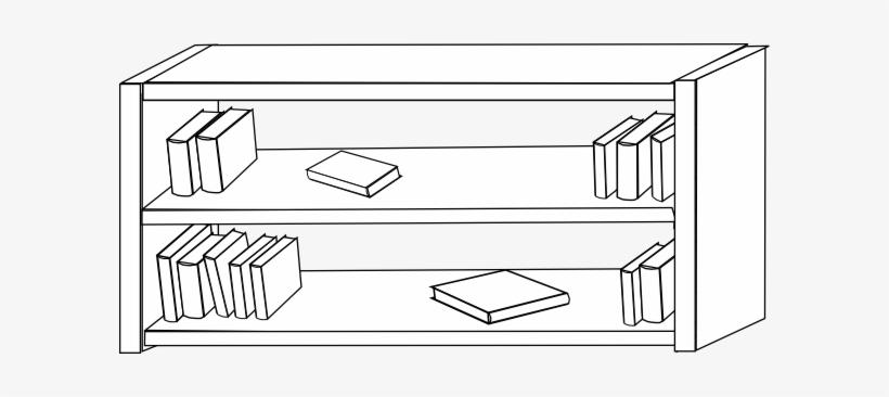 Bookcase Image - Cartoon Bookshelf Black And White, transparent png #2726589