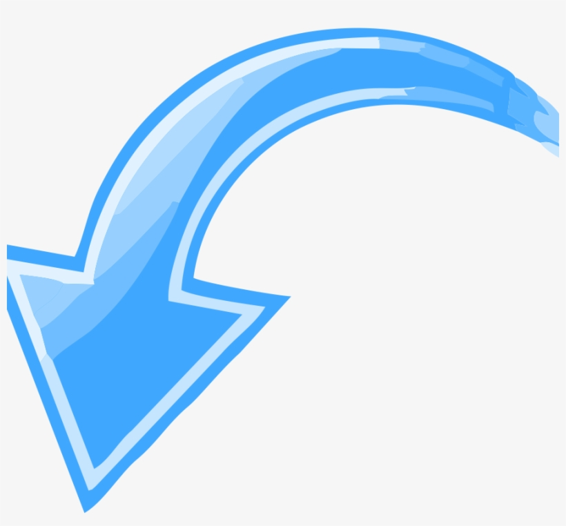 Blue Curved Arrow Pointing Down Left - Arrow Pointing Left Down, transparent png #2746272