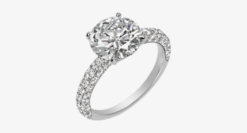 Dia Wedding Band 3019072 Rnd I - Halo Ring With Two Diamonds, transparent png #2751022